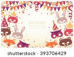 horizontal template with animal ... | Shutterstock .eps vector #393706429