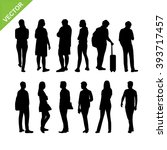 people silhouettes vector | Shutterstock .eps vector #393717457