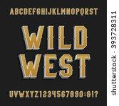 vintage wild west alphabet font.... | Shutterstock .eps vector #393728311