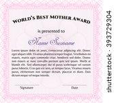 world's best mom award template.... | Shutterstock .eps vector #393729304