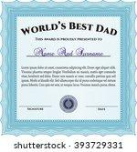 world's best dad award template.... | Shutterstock .eps vector #393729331