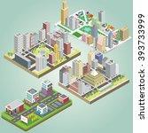 isometric city set | Shutterstock .eps vector #393733999