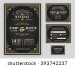 luxurious wedding invitation on ... | Shutterstock .eps vector #393742237