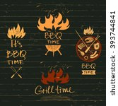 set vector lettering hand drawn ... | Shutterstock .eps vector #393744841
