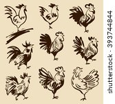 roosters in different poses.... | Shutterstock .eps vector #393744844