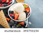 vanilla ice cream scoops with... | Shutterstock . vector #393753154