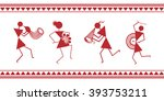 indian tribal painting. warli... | Shutterstock .eps vector #393753211