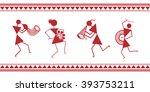 indian tribal painting. warli... | Shutterstock .eps vector #393753211