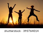 happy children playing in the... | Shutterstock . vector #393764014