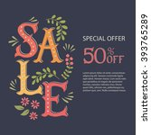 hand drawn lettering sale. hand ... | Shutterstock .eps vector #393765289