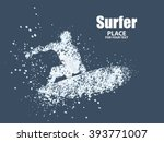 silhouettes of surfers particle ... | Shutterstock .eps vector #393771007
