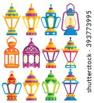 set of 12 ramadan lanterns  | Shutterstock .eps vector #393773995