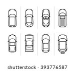 Stock vector vector set outline cars top view vector car icons thin line vector race cars symbols 393776587