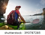 woman paddling the sea kayak in ... | Shutterstock . vector #393787285