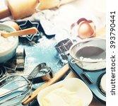pile preparation baking cooking ... | Shutterstock . vector #393790441