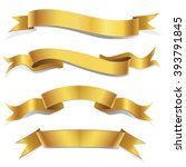 Realistic Gold Vector Ribbons Set ,  banner, with stitch detailing for your design project | Shutterstock vector #393791845