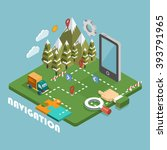 isometric navigation concept.... | Shutterstock .eps vector #393791965