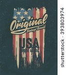 american broken flag   vintage... | Shutterstock .eps vector #393803974