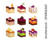 flat design cake piece icons... | Shutterstock .eps vector #393806365