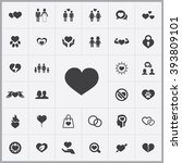 simple love icons set.... | Shutterstock .eps vector #393809101