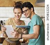 couple eating spaghetti sweet... | Shutterstock . vector #393812224