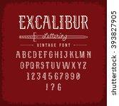 vintage font excalibur... | Shutterstock .eps vector #393827905