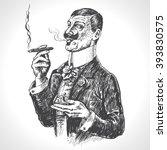 elegant gentleman holding glass ... | Shutterstock .eps vector #393830575