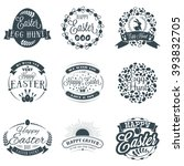set of easter typographical... | Shutterstock .eps vector #393832705