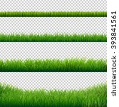 green grass borders set  vector ... | Shutterstock .eps vector #393841561