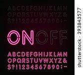 red neon light alphabet font.... | Shutterstock .eps vector #393843577