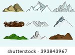 set of nine different mountains | Shutterstock .eps vector #393843967