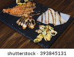 delicious smoked salmon fish... | Shutterstock . vector #393845131