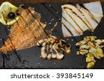 delicious smoked salmon fish... | Shutterstock . vector #393845149