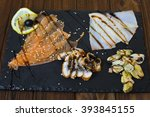 delicious smoked salmon fish... | Shutterstock . vector #393845155