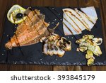 delicious smoked salmon fish... | Shutterstock . vector #393845179