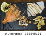 delicious smoked salmon fish... | Shutterstock . vector #393845191