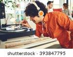 group of friends listening... | Shutterstock . vector #393847795