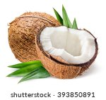 coconut with half and leaves on ... | Shutterstock . vector #393850891