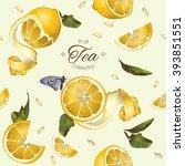 vector fruit tea seamless... | Shutterstock .eps vector #393851551