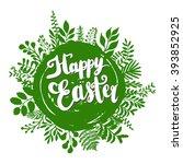 happy easter lettering design... | Shutterstock .eps vector #393852925