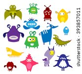 color icon alien monster on a... | Shutterstock .eps vector #393857011
