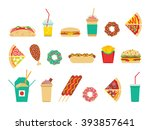 fast food icons set. vector... | Shutterstock .eps vector #393857641