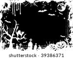 grunge halloween frame with... | Shutterstock . vector #39386371