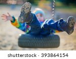funny kid boy having fun with... | Shutterstock . vector #393864154