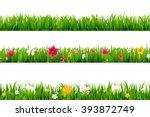 grass borders set with gradient ... | Shutterstock .eps vector #393872749