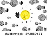 Small photo of isolated yellow crumpled paper light bulb with white background creative inspiration concept metaphor for think different idea /another direction / do other way
