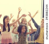students children cheerful... | Shutterstock . vector #393882244