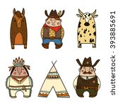 wild west icons. collection of... | Shutterstock .eps vector #393885691