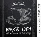 menu written in chalk on a... | Shutterstock .eps vector #393891097