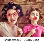 funny family  mother and her... | Shutterstock . vector #393892555